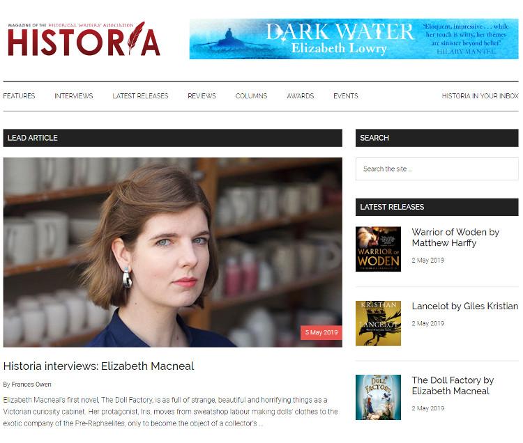 Historia home page